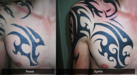 Recouvrement d'un tatouage tribal