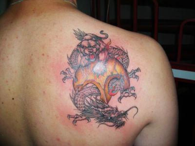 Tatouage tigre et dragon