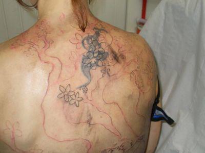 6 début du tracé du tatouage