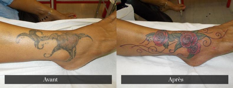 Recouvrement de tatouage sur le pied