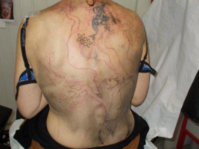 5 début du tracé du tatouage