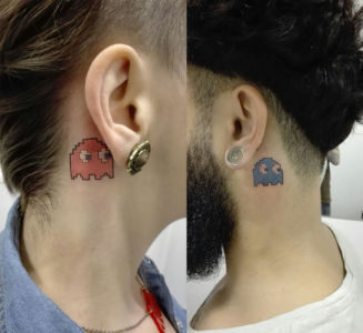 Tatouage couple Space invaders phantom